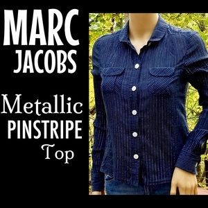 💥24HR💥MARC JACOBS▪️Blue & Silver Pinstripe Top